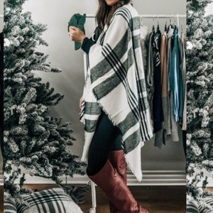Other - Plaid Poncho One Size